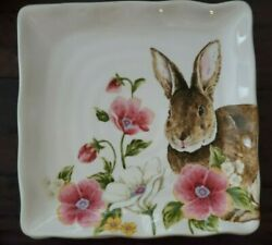 New Maxcera Spring Collection Pink Flowers Bunny Rabbit 4 Square Dinner Plates