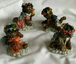Set Of 4 Hand Painted African American Angel Figurines Lot Of 4 New