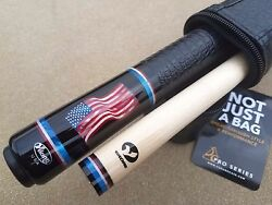 New Viking A561 American Flag Pool Cue Gator Emb. Leather Wrap And039old Gloryand039