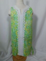 LILLY PULITZER Girls Yellow & Green Jungle Print Cttn Sleevelss Shift Dress Sz 6