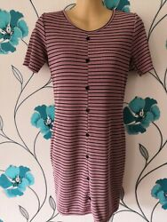 Ladies Pink Striped Casual Ribbed BODYCON DRESS size 12 By BOOHOO - BRAND NEW