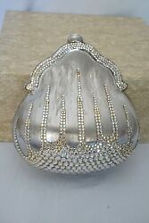 Judith Leiber Silver Crystal Embellished Clutch Evening Bag Pear Shaped $325.00