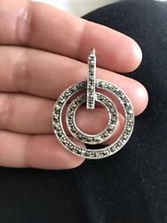 Womens Yemeni Silver Pendant With Marcasite Stones Oval Circles Unique