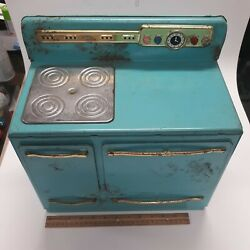 Heats Up Working Vintage Wolverine 50's Toy Child Stove Oven Turquoise Usa Made