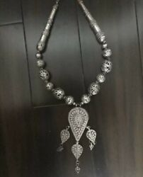 Yemeni Chunky Necklace Chain With Big Pendant Made Of Old Silver One Of A Kind