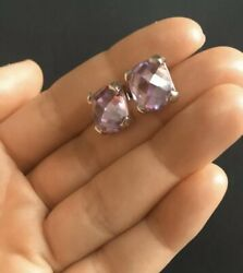 Sterling Silver 925 Studs Earrings With Amethyst Stones
