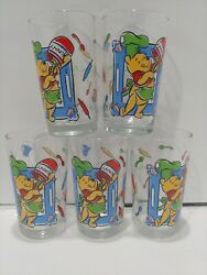 Lot Of 5 Disney Juice Glasses Winnie The Pooh - What's Cooking Pooh 14 Oz