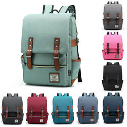 Canvas Leather Travel Backpack Rucksack Laptop School Bag for Girl Women Men $18.96