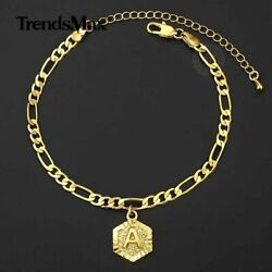 5mm Gold Figaro Chain Initial Charm Anklet Bracelet Stainless Steel Foot Ankle