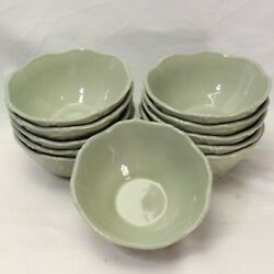 Jcpenney Chris Madden Adalina Green Soup Salad Bowls 6.75 Lot Of 11