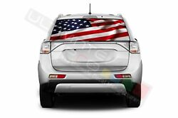 Flags Decals Rear Window See Thru Stickers Perforated For Mitsubishi Outlander