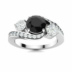 Certified 1.5 Ctw Black And White Diamond 14k White Gold Engagement Ring