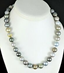 18k Yellow White Gold Tahitian South Sea Pearl Diamond Ball Clasp Stand Necklace