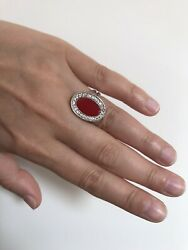 Womens Silver 925 Ring Oval Circle Shape With Big Red Stone