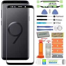 For Samsung Galaxy S9 Plus G965 -black- Front Screen Glass Back Replacement Kit