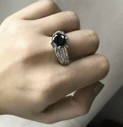 Mens Sterling Silver 925 Ring With Black Stone Jet Or Onyx Big Ring