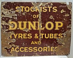 Dunlop Tire And Tubes And Accessories Vintage Advertising Sign Enamel Porcelain Ad