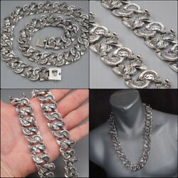 26 445g Cobra Snake Heavy Curb Link Chain 925 Sterling Silver Mens Necklace Pre