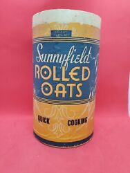 Vintage Advertising Country Store Cardboard Tin 3 Lb Box Sunnyfield Rolled Oats