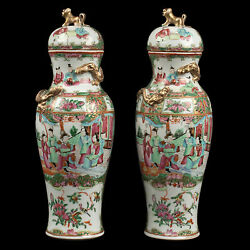 China 19. Jh A Pair Of Chinese Canton Famille Rose Vases Qing Daoguang Chinois
