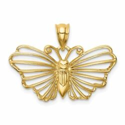 14k Gold Polished Butterfly Charm Pendant Msrp 556