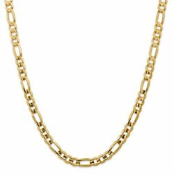 14k Yellow Gold 7.5mm Concave Open Figaro Link Chain Necklace Msrp 9466