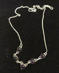 Yemeni Sterling Silver 925 Necklace Chain With Amethyst Stones Beads Balls Round