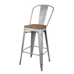 30and039and039 High Back Metal Bar Stool Antique White Kitchen Counter Stool Wooden Seat