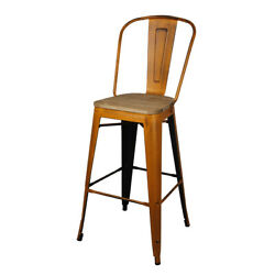30and039and039 High Back Metal Bar Stool Antique Orange Kitchen Counter Stool Wooden Seat