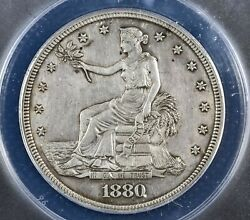 1880 Proof Trade Silver Dollar T1 Coin - Certified Anacs Pf 58 Detail Cleaned