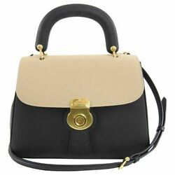 Burberry DK88 Medium Bicolor Black and Beige Trench Leather Bag