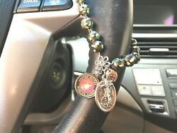 Military Rosary Car Auto Steering Wheel Rear View Mirror Lady Of The Highway