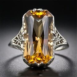 Womenand039s Antique Vintage Style Ring Yellow Citrine Gemstone 925 Sterling Silver