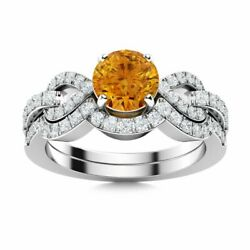 1.14 Ctw Natural Citrine And Diamond Bridal Set Engagement Ring In 14k White Gold
