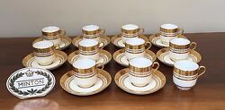 Antique Minton For Gold Encrusted Demitasse Cup And Saucer Set Of 10