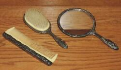 Vintage Girland039s 3-pc Silver Plated Floral Vanity/dresser Hair Brush Comb Mirror