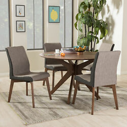 Kimberly 5pc Mid-century Modern Brown Fabric Chairs And Round Dining Table Set