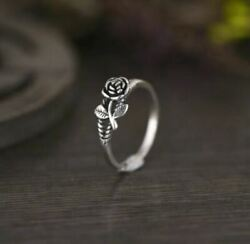 Vintage Rose Flower Ring 925 Silver Women's Jewelry Size 7 New
