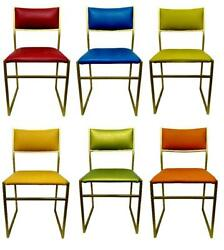 Lot Of Six Chairs In Metal Design Original Years 70 Vintage Modern Antiques