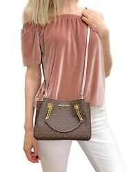 MICHAEL KORS TEAGEN MESSENGER SMALL CROSSBODY MK SIGNATURE PVC BAG BROWN BLOSSOM $143.95