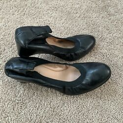 Anyi Lu Italy Black Leather Wedge Ballet Shoes Womens Size 9.5 Flex Pumps 39.5