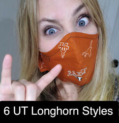 UT Texas Longhorns  Washable Face Mask Sewn in TEX Same Day Ship $9.99