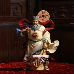 15and039and039 China Porcelain Pottery Temple Martial God Of Wealth Zhao Gongming Statue