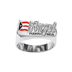 Sns169md Sterling Silver 10mm Medium Size National Flag Name Ring