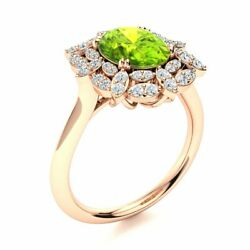2.16 Cttw Genuine Peridot And Si Diamond Vintage Engagement Ring 14k Rose Gold