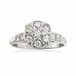 C. 1980 Vintage .55 Ct. T.w. Diamond Cluster Ring In 18kt White Gold. Size 6.5