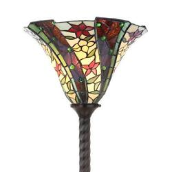 -style Floral Torchiere Floor Lamp Red Green Jewels Stained Glass 71 H