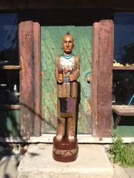 John Gallagher Carved Wooden Cigar Store Indian 5 Ft. Statue Warrior Tomahawk