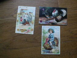 Three Genuine Original Vintage Thanksgiving Post Cards Early 1900s