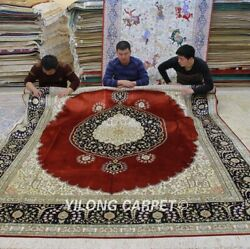 Yilong 8'x10' Large Hand Knotted Silk Carpet Home Decor Luxurious Area Rug LH987